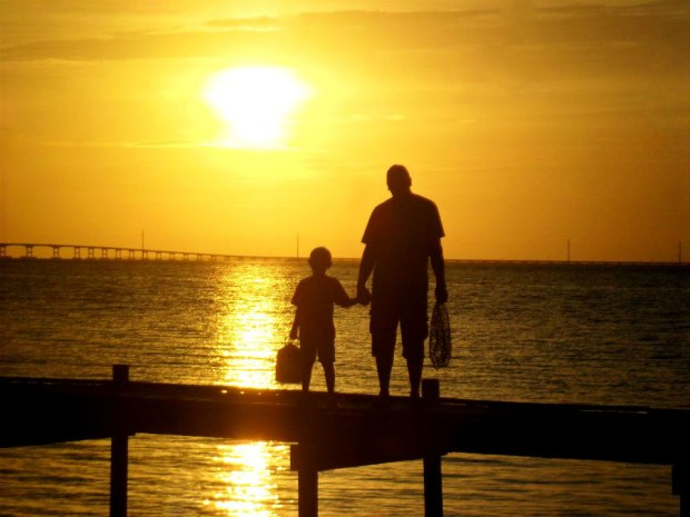 sunset, florida, st. george island, fishing, family