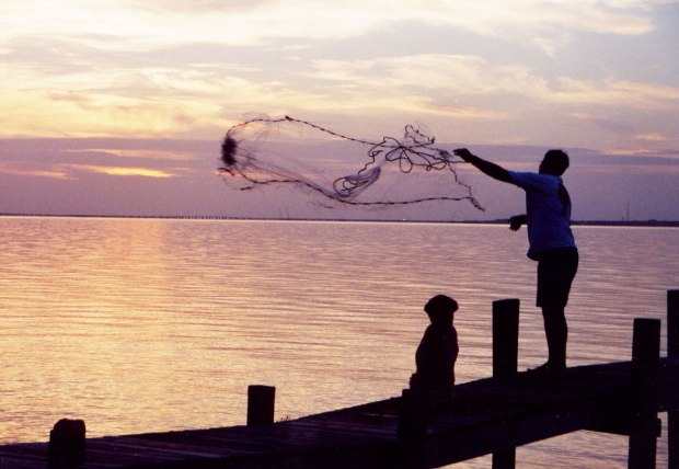 fishing, sunset, cast net, mullet, st. george island