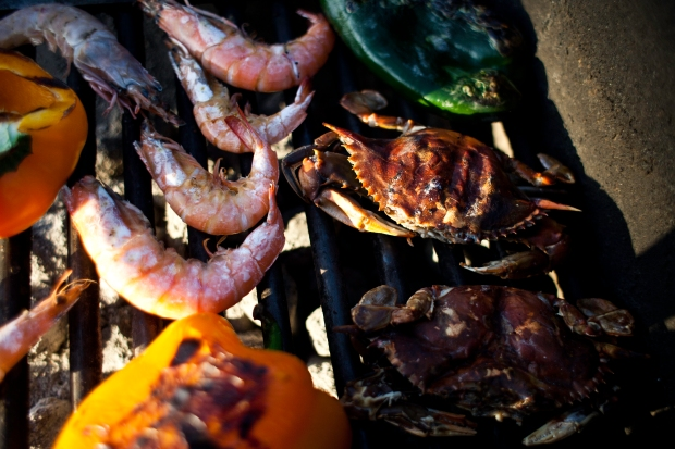 soft shell crab, shrimp, peppers, grill, st. george island